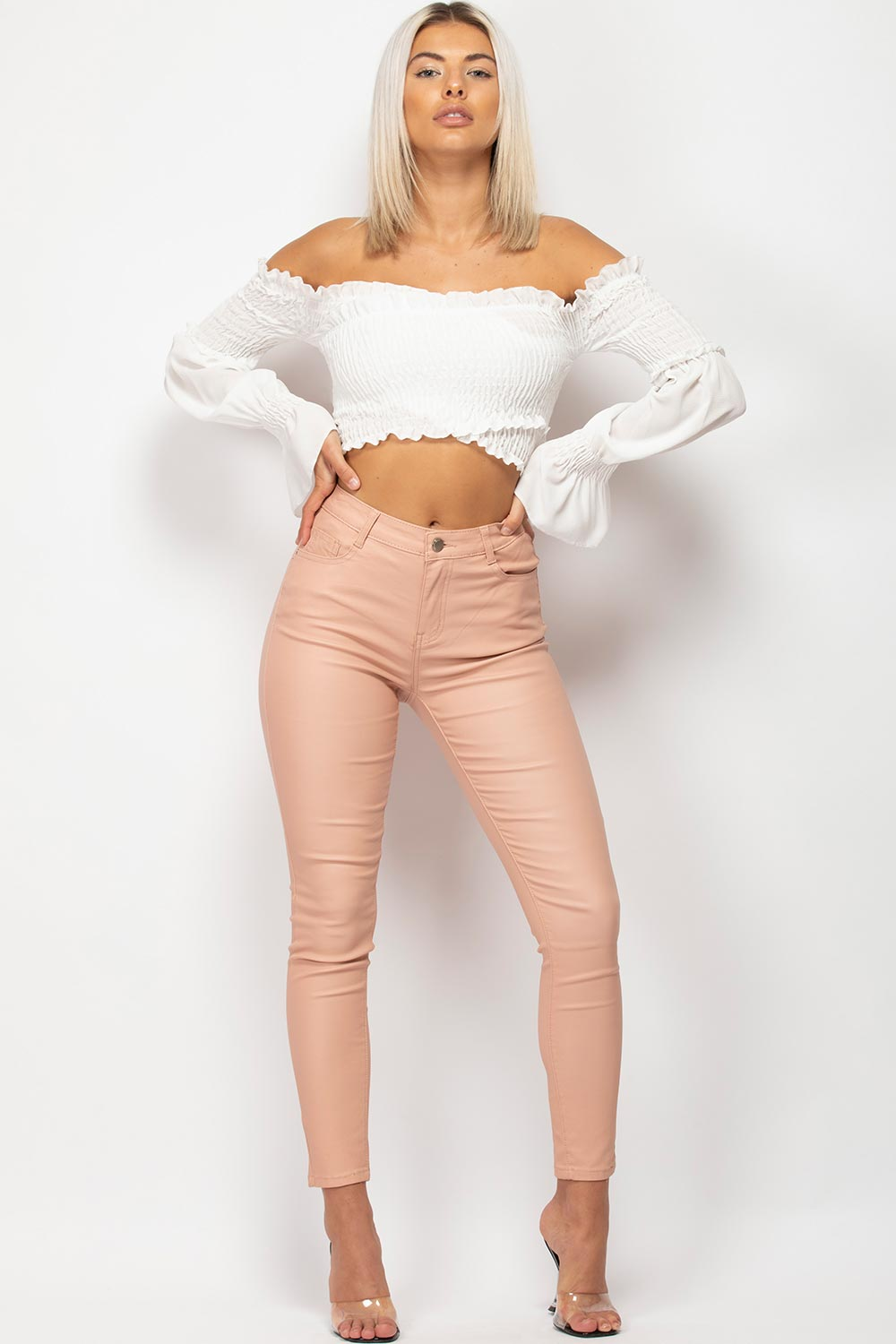 white off shoulder long sleeve crop top