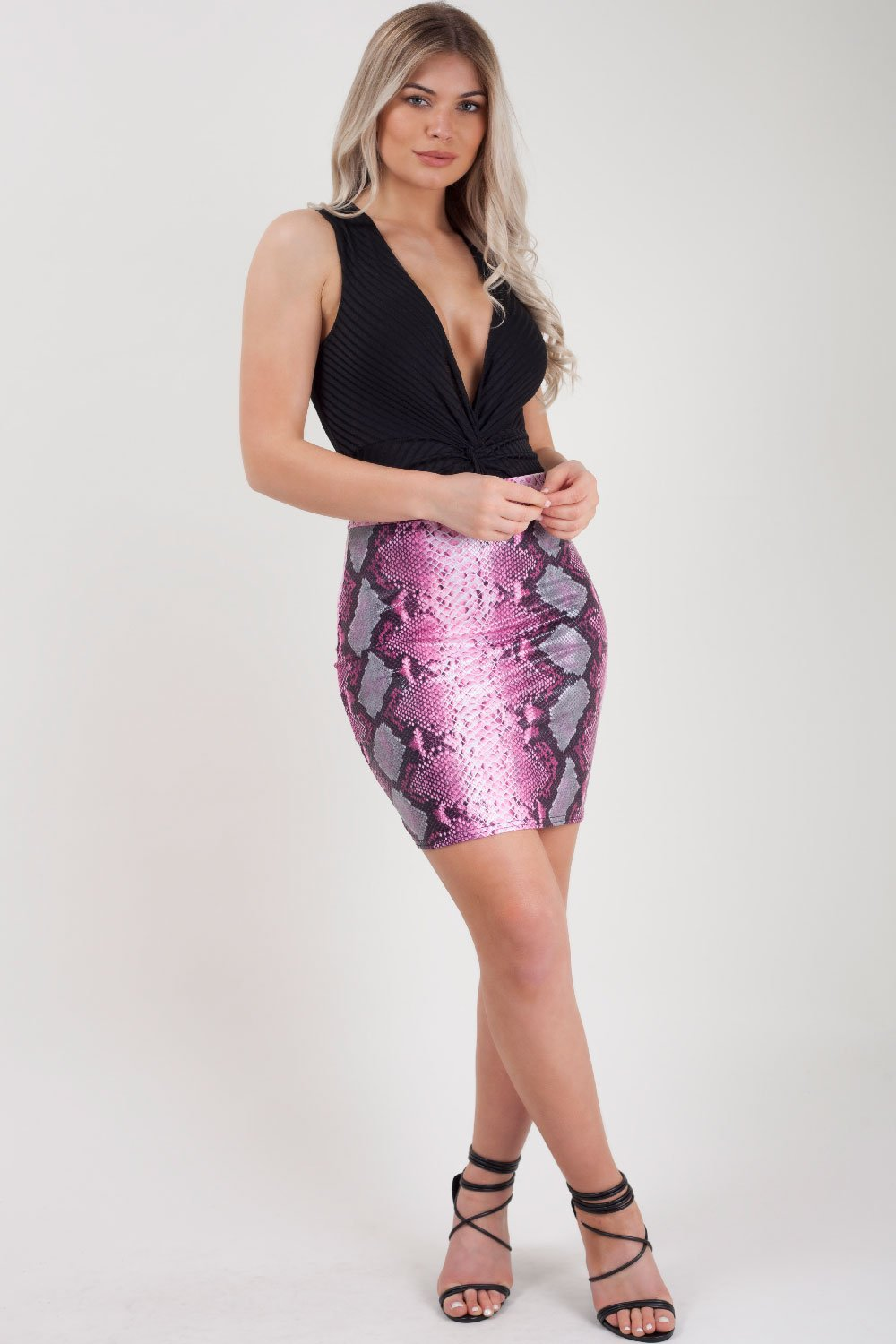 pink coated snake print mini bodycon skirt uk size 10