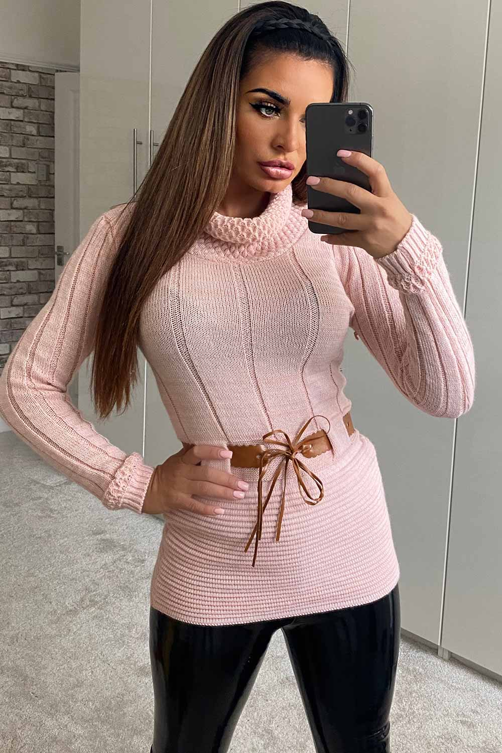 pink cowl neck bodycon jumper