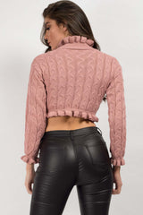 long sleeve crop jumper pink