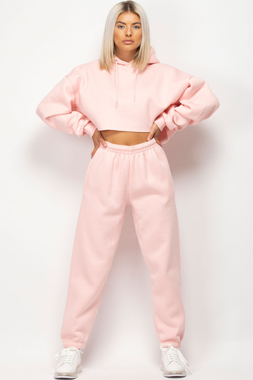 pink oversized crop hoodie joggers set womens
