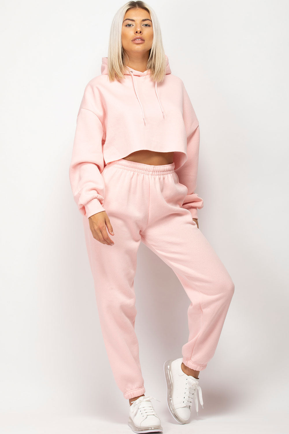 womens pink oversized cropped hoodie and joggers lounge set