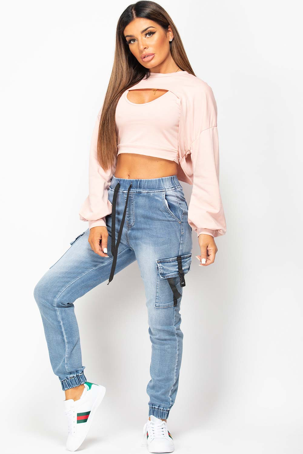 pink extreme crop sweatshirt and top set