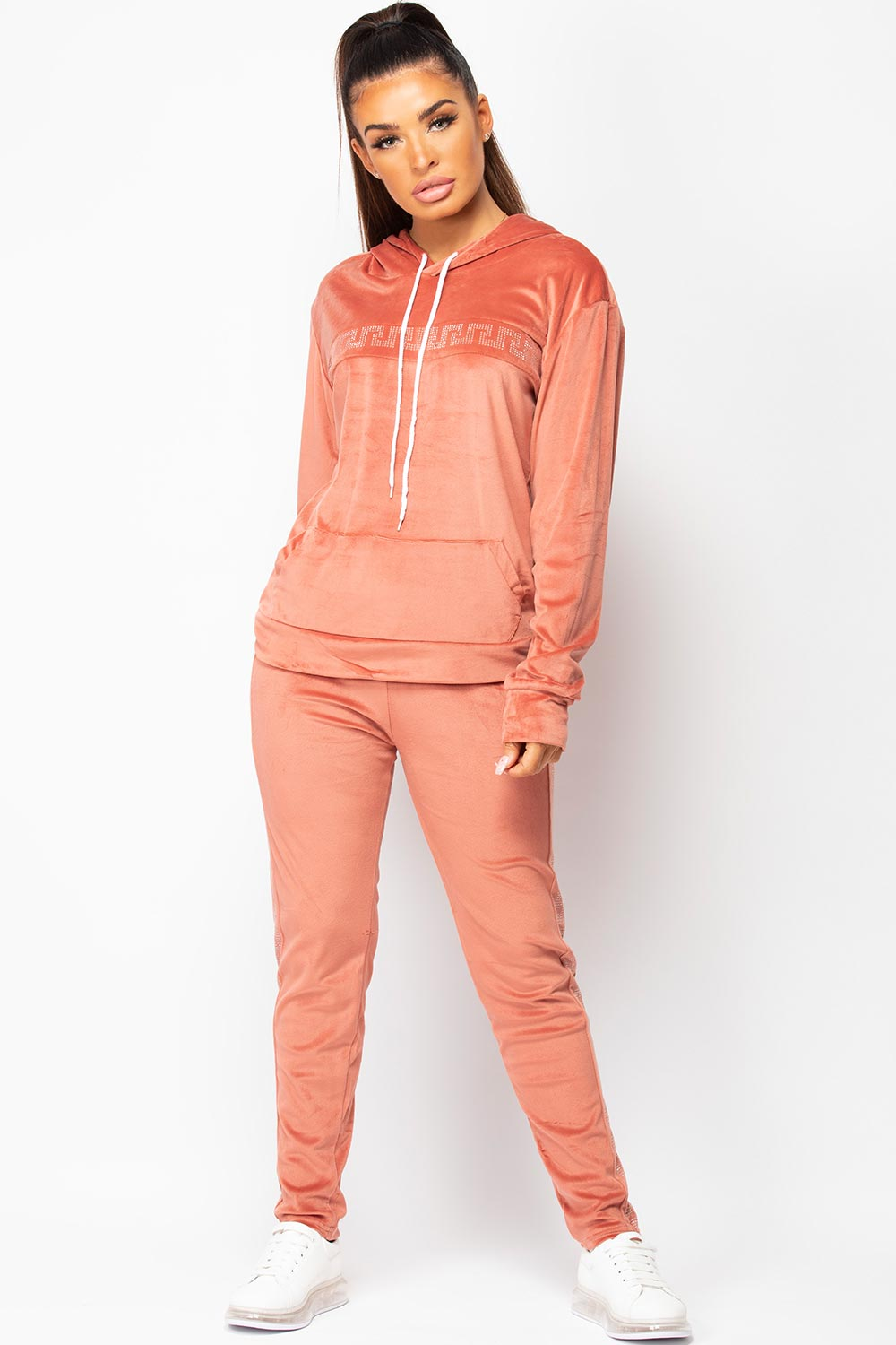 pink velour tracksuit on sale