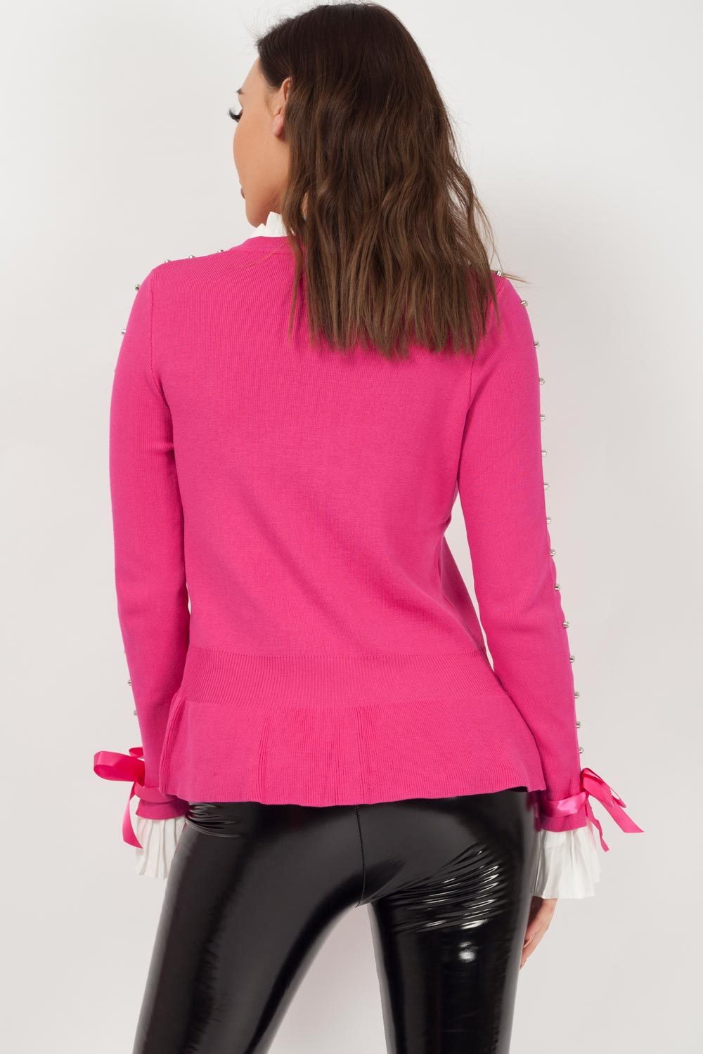 silver studded diamante frill detail jumper