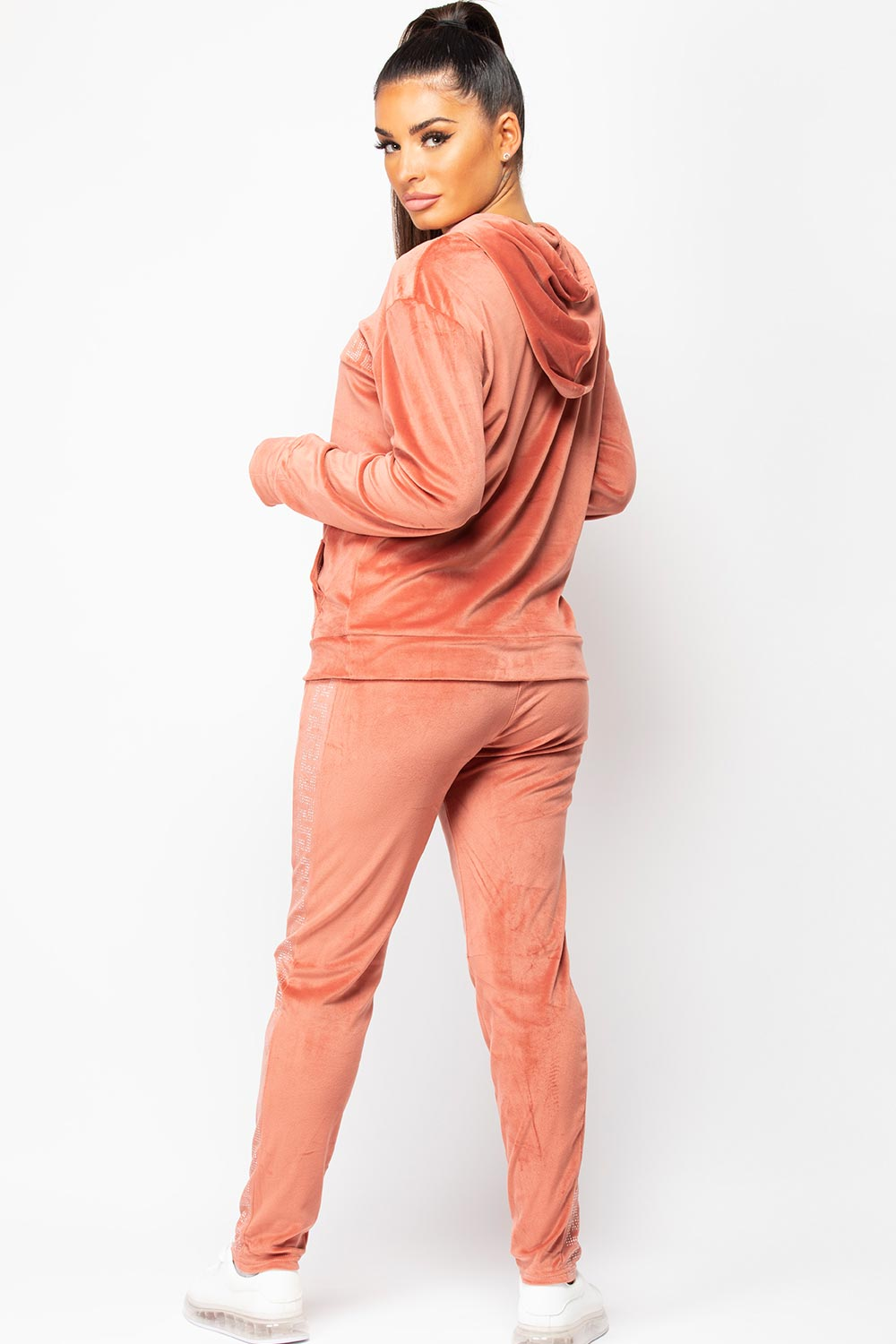 hooded velour tracksuit womens