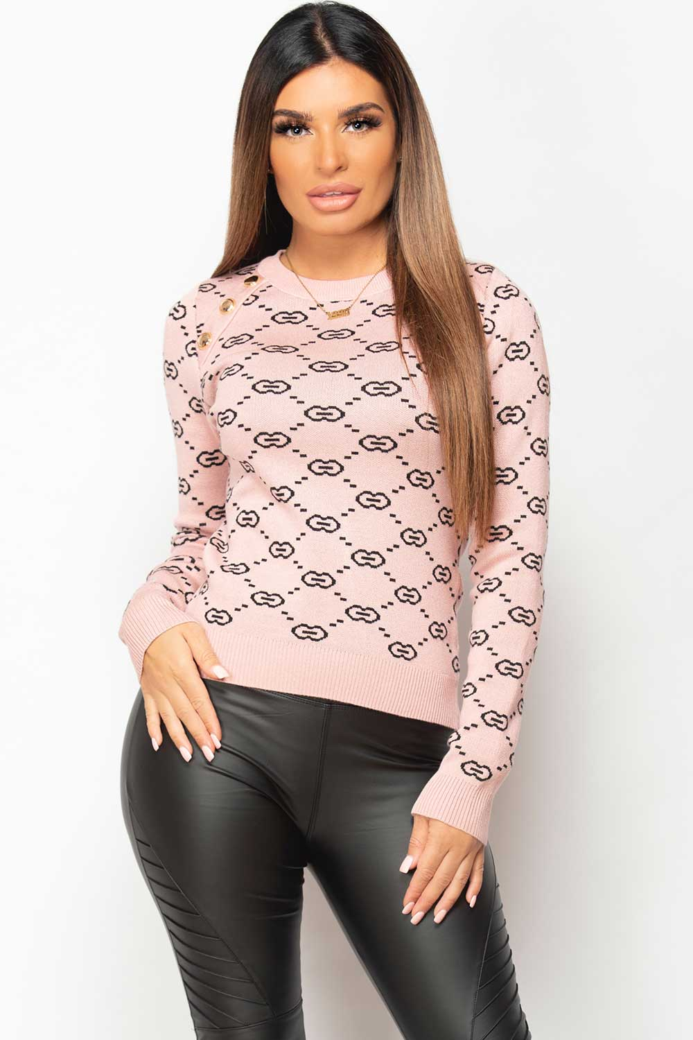 pink jumper with gold button shoulder