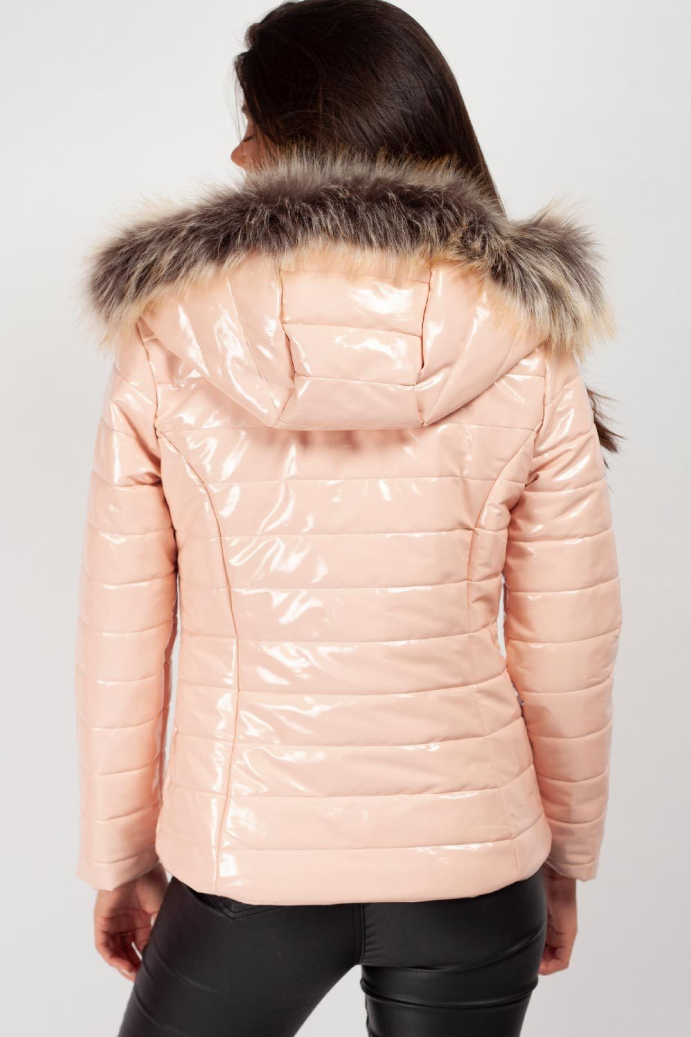 pink chunky faux fur hood padded coat