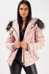 pink padded faux fur hooded coat styledup fashion