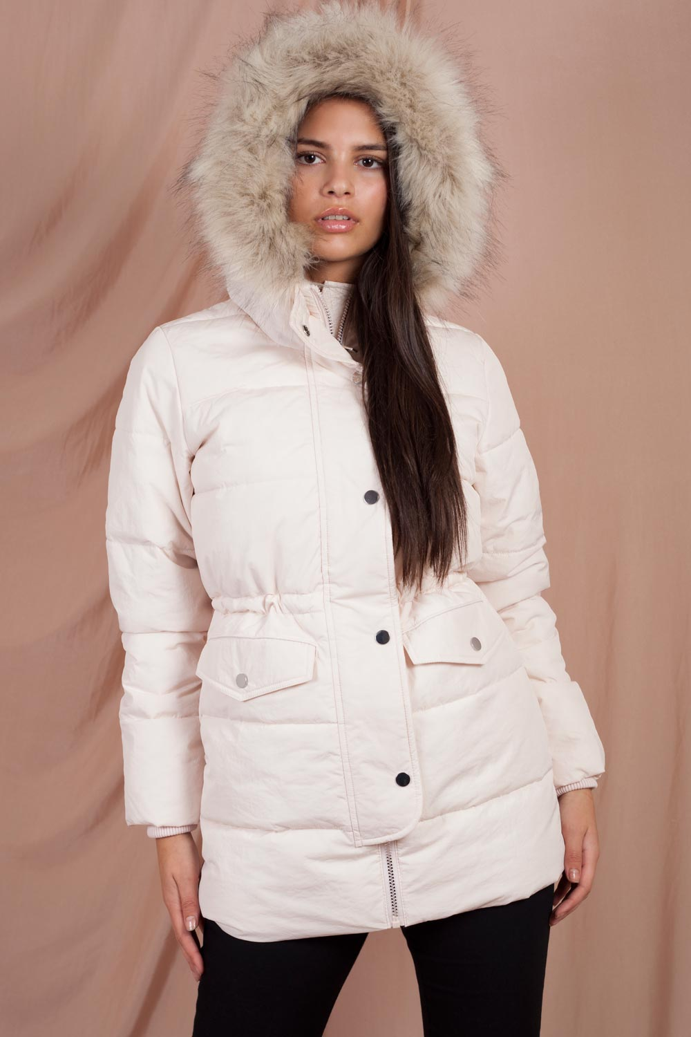 pink faux fur hooded puffer coat womens