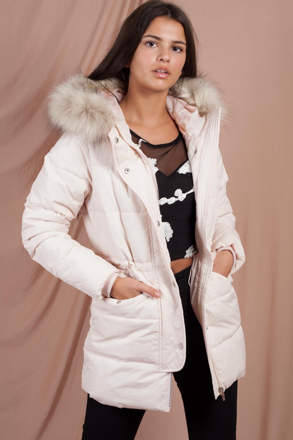 womens puffer coat with faux fur hood on sale