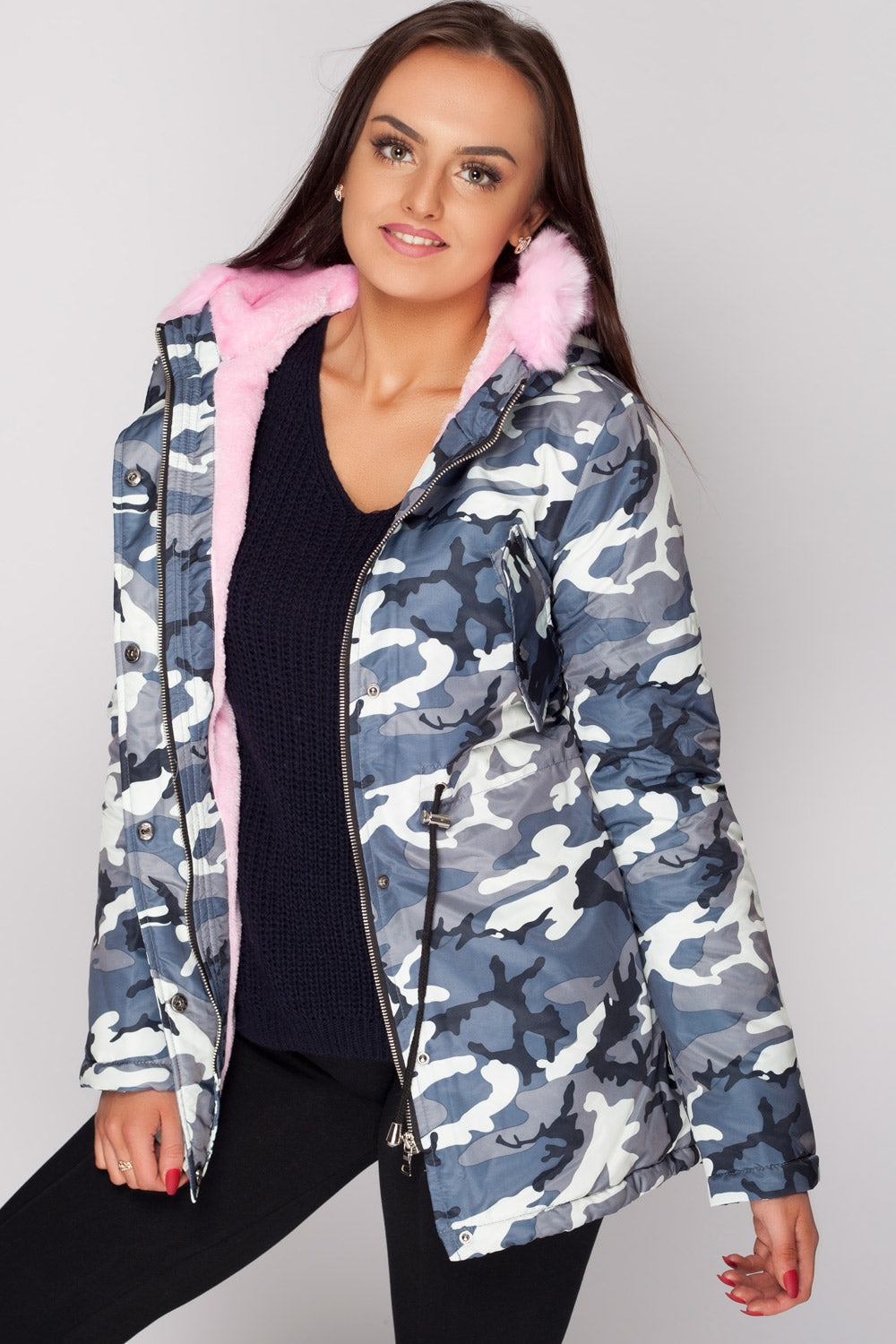 womens camo parka coats with fur hood