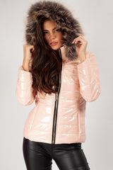 pink shiny faux fur coat