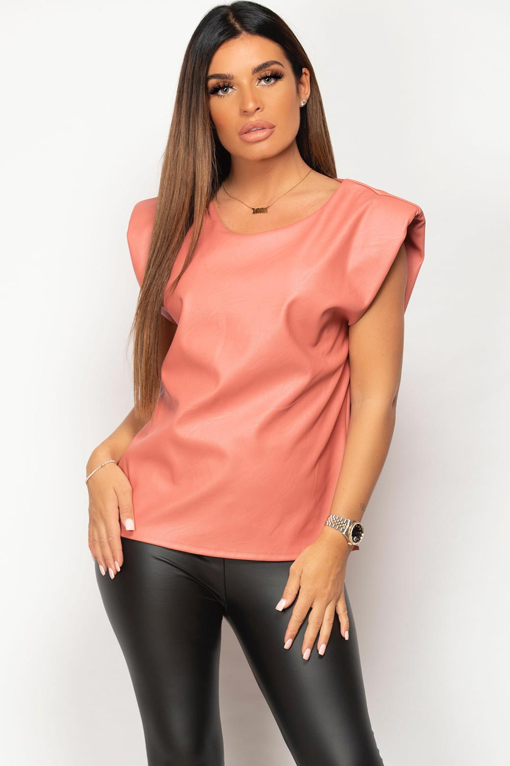 faux leather padded shoulder top