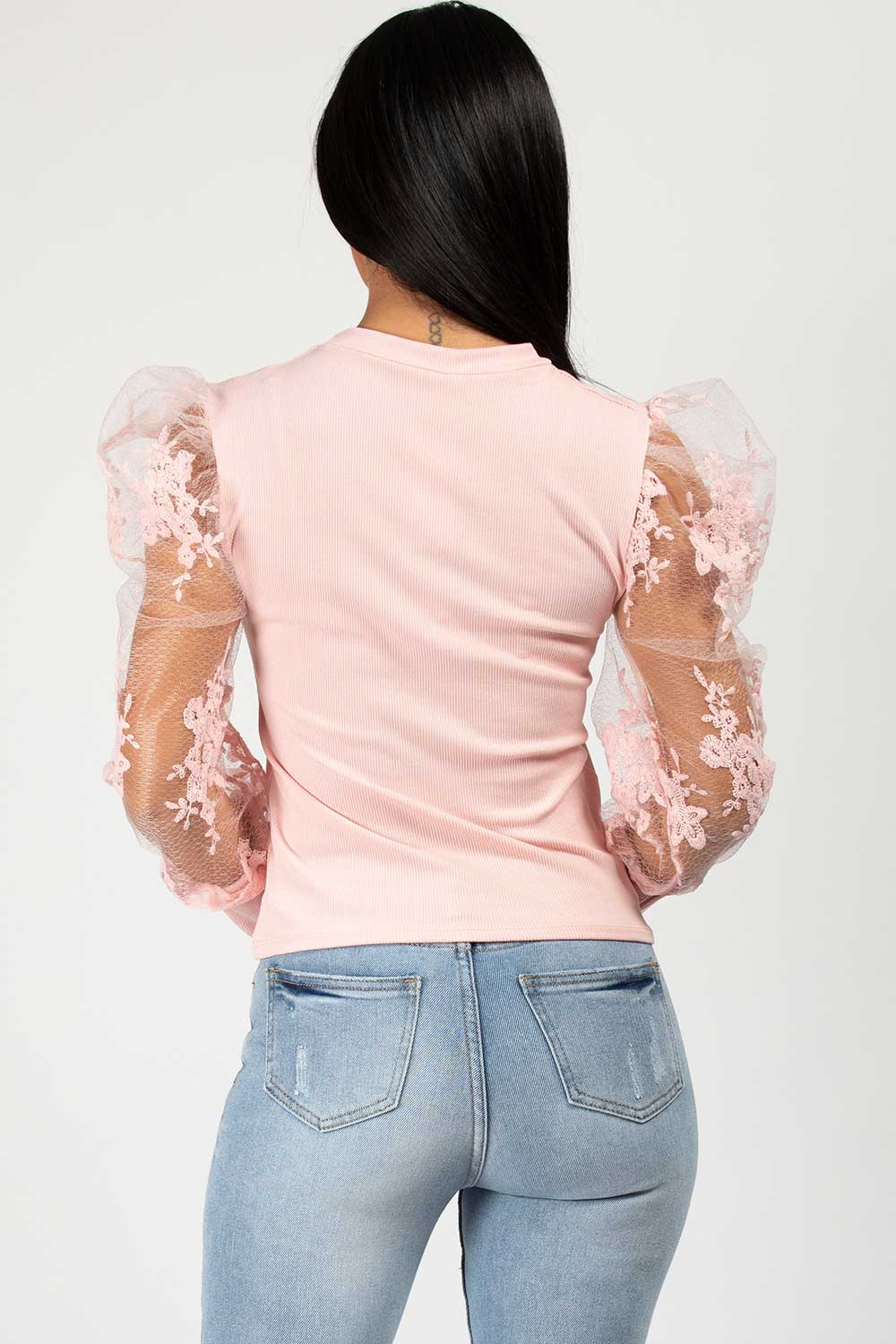 ribbed puff sleeve top pink