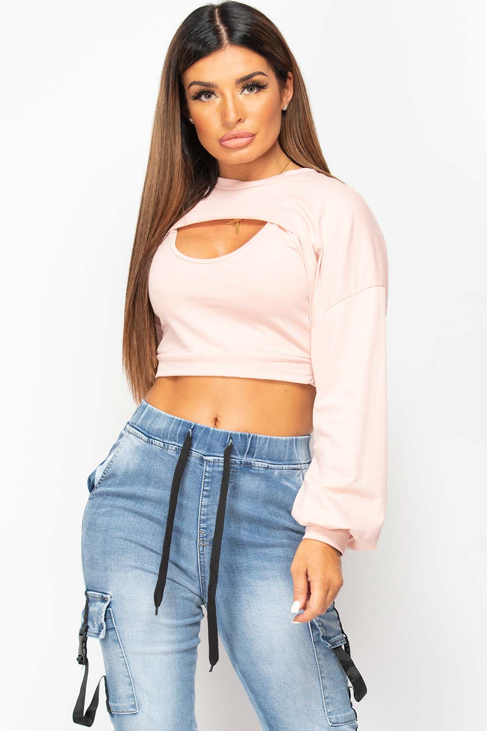 pink cut out front sweatshirt