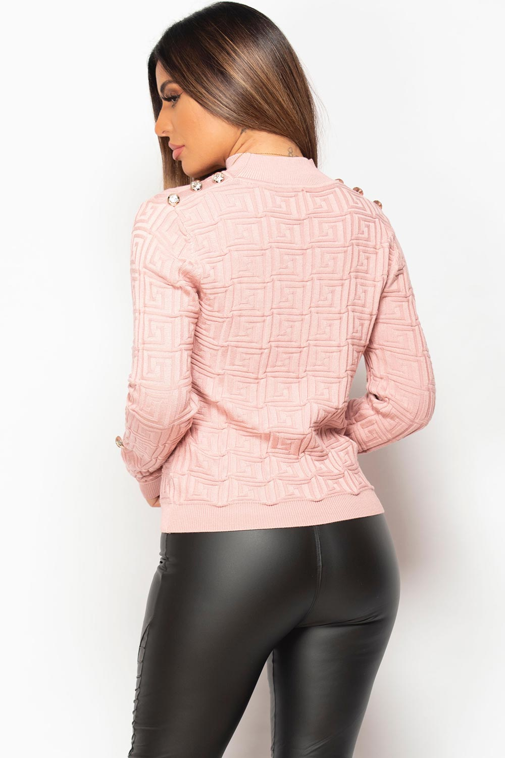 ribbed gold button detail jumper pink