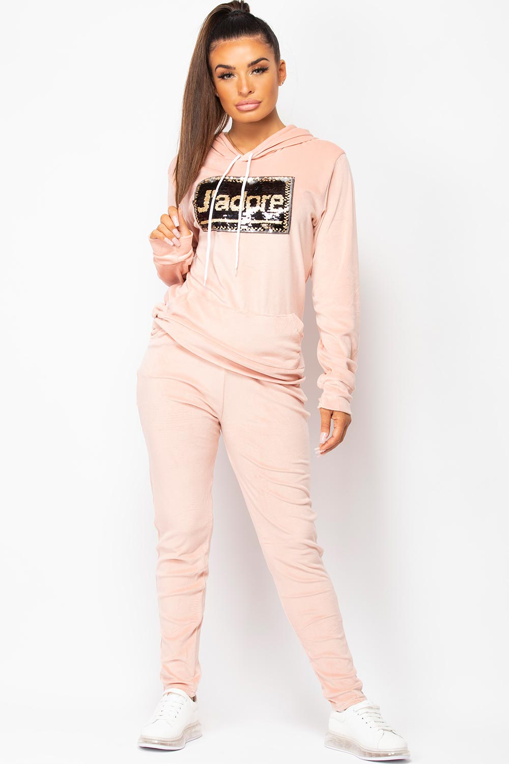 womens pink velour loungewear set uk