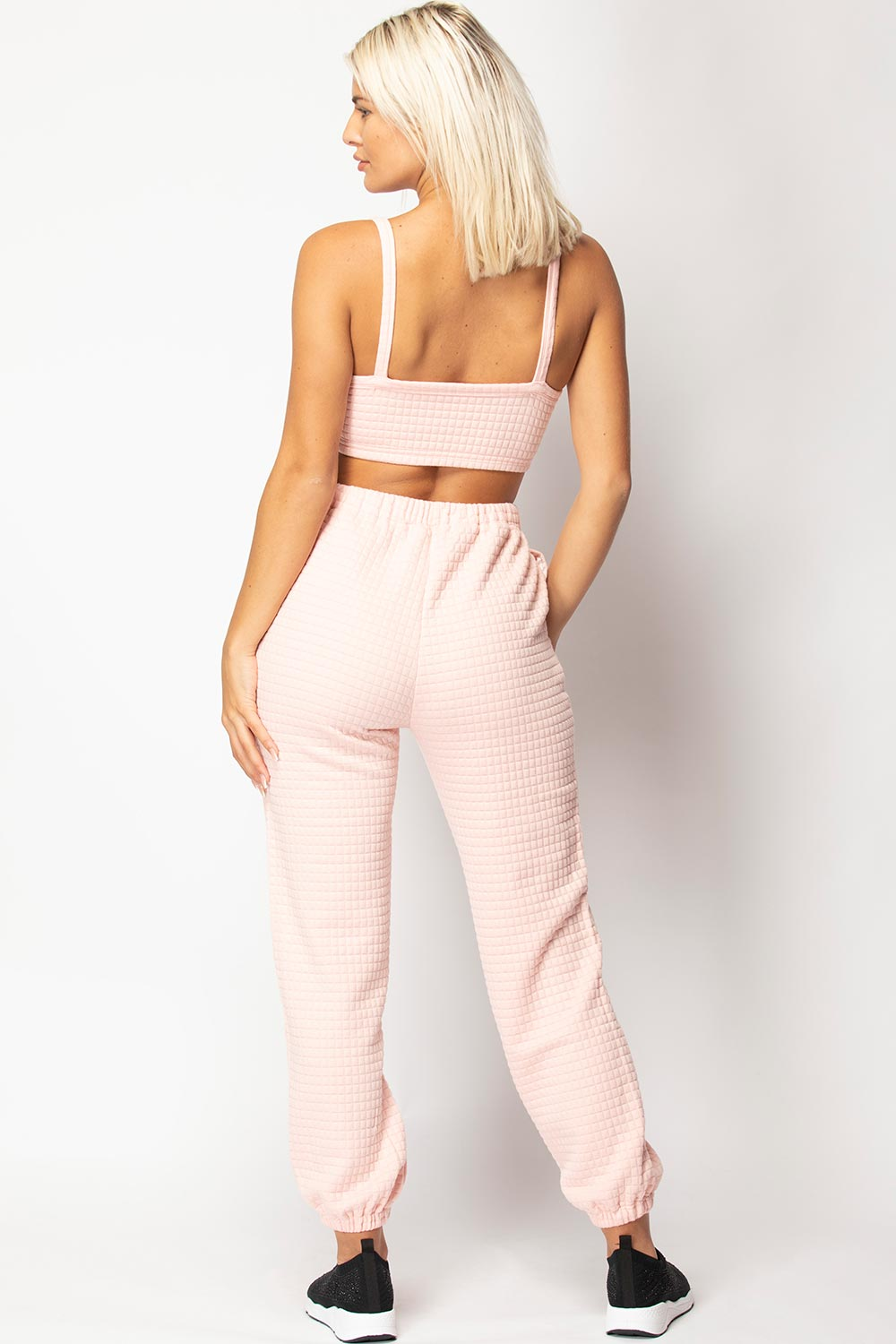 pink quilted lounge set uk