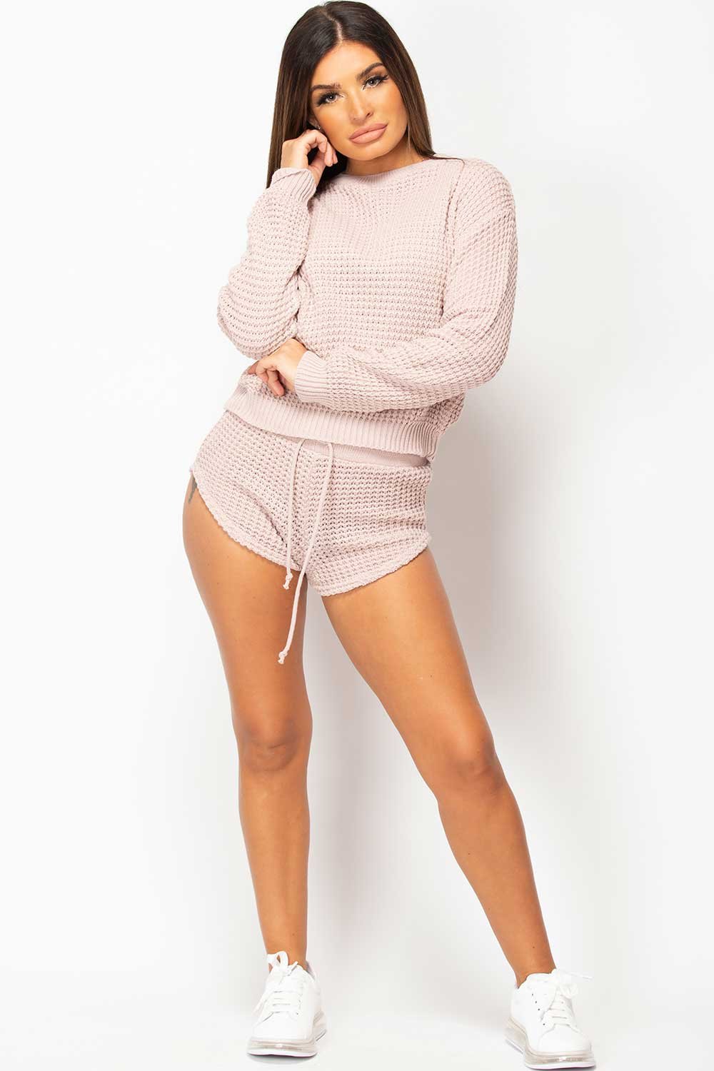 pink knitted shorts and jumper lounge set