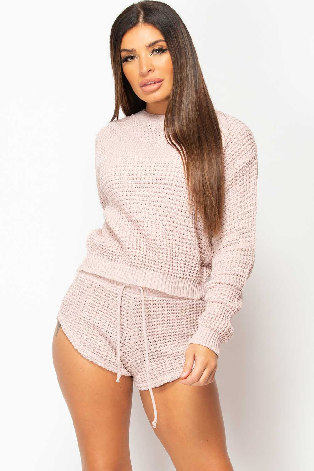 knitted shorts and jumper loungewear set