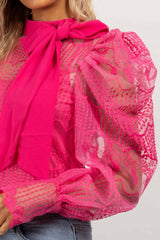 pink puff sleeve lace blouse