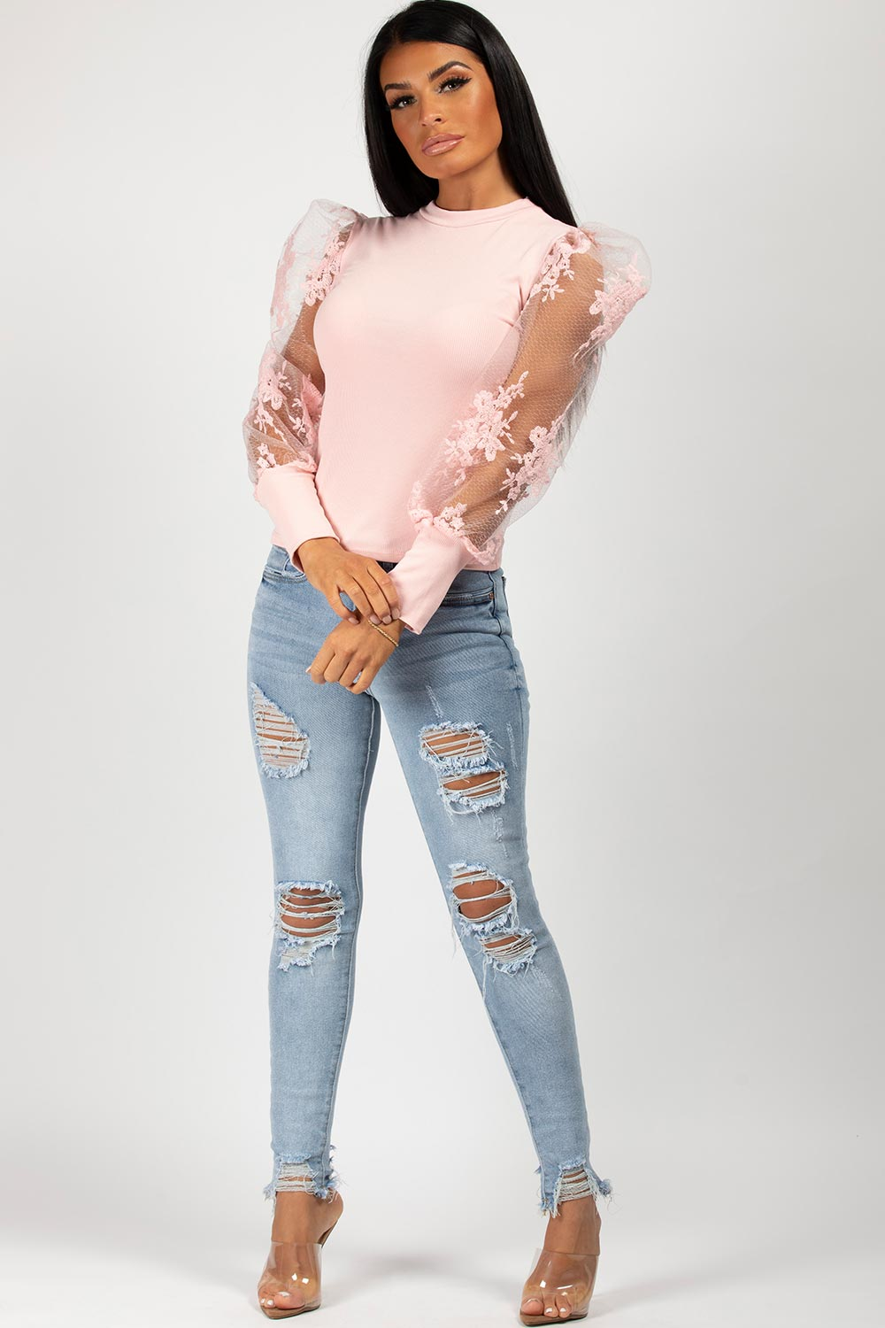sheer lace puff sleeve top pink