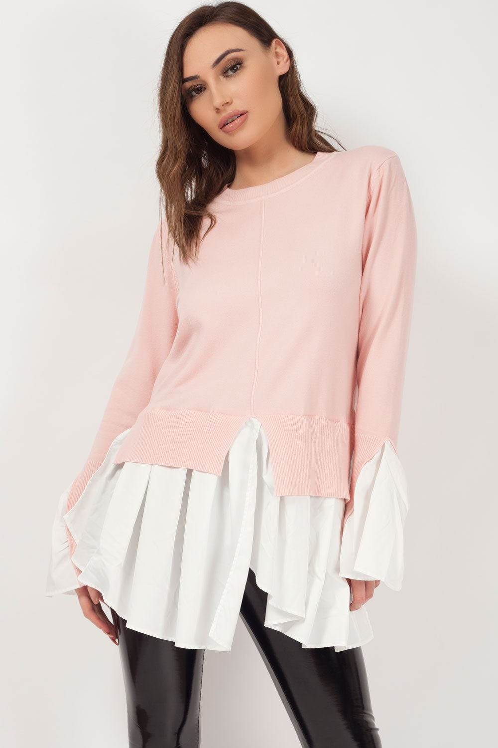 women's mock layer shirt jumper