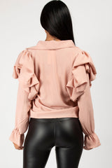 pink balloon puff sleeve blouse