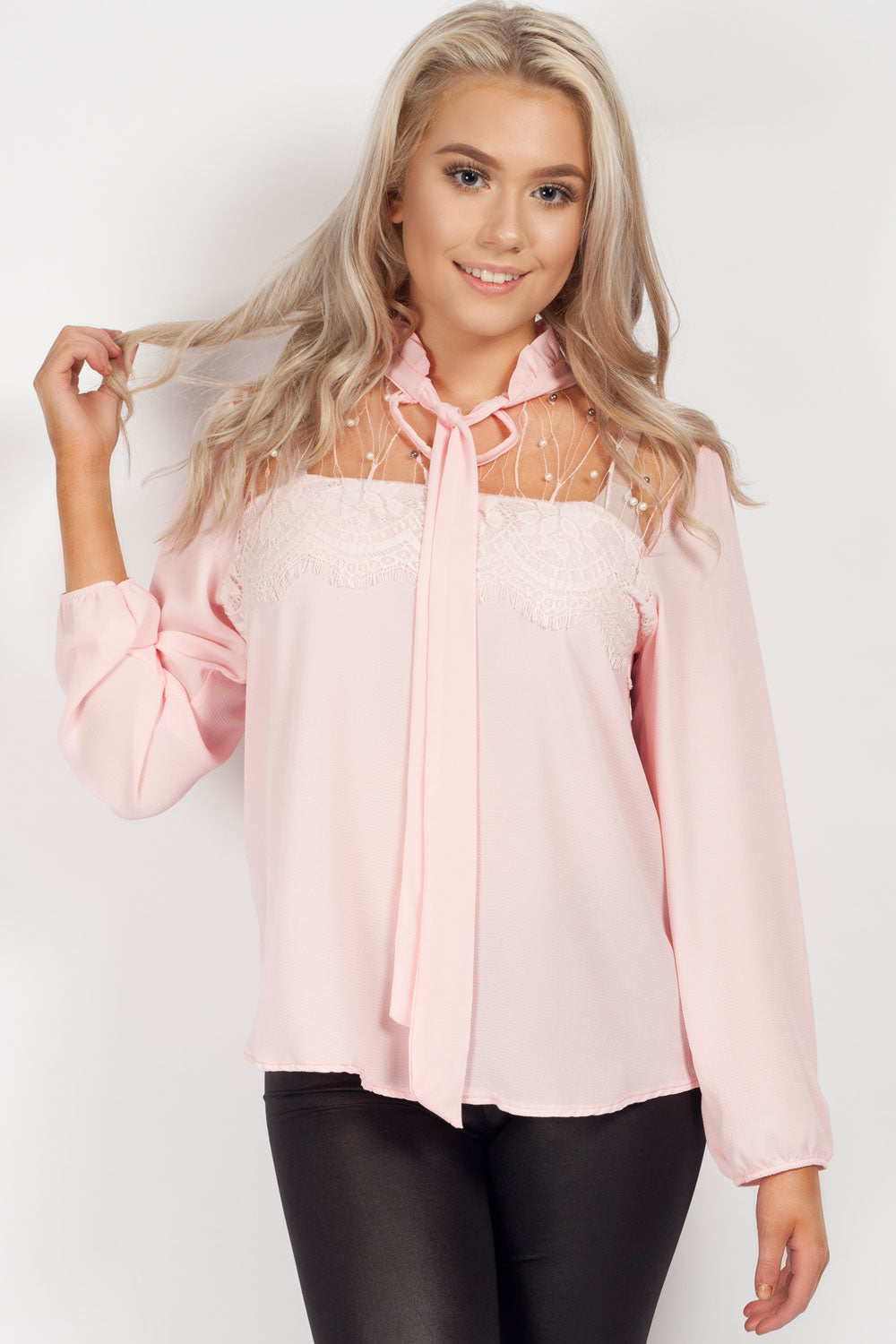 406901b3caacc7 Pink Long Sleeve Blouse Diamante Detail