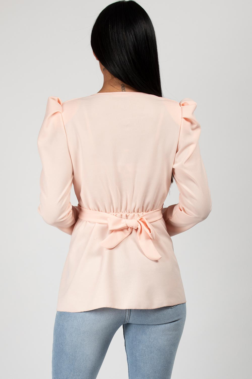 Puff Sleeve Double Circle Belt Top Pink