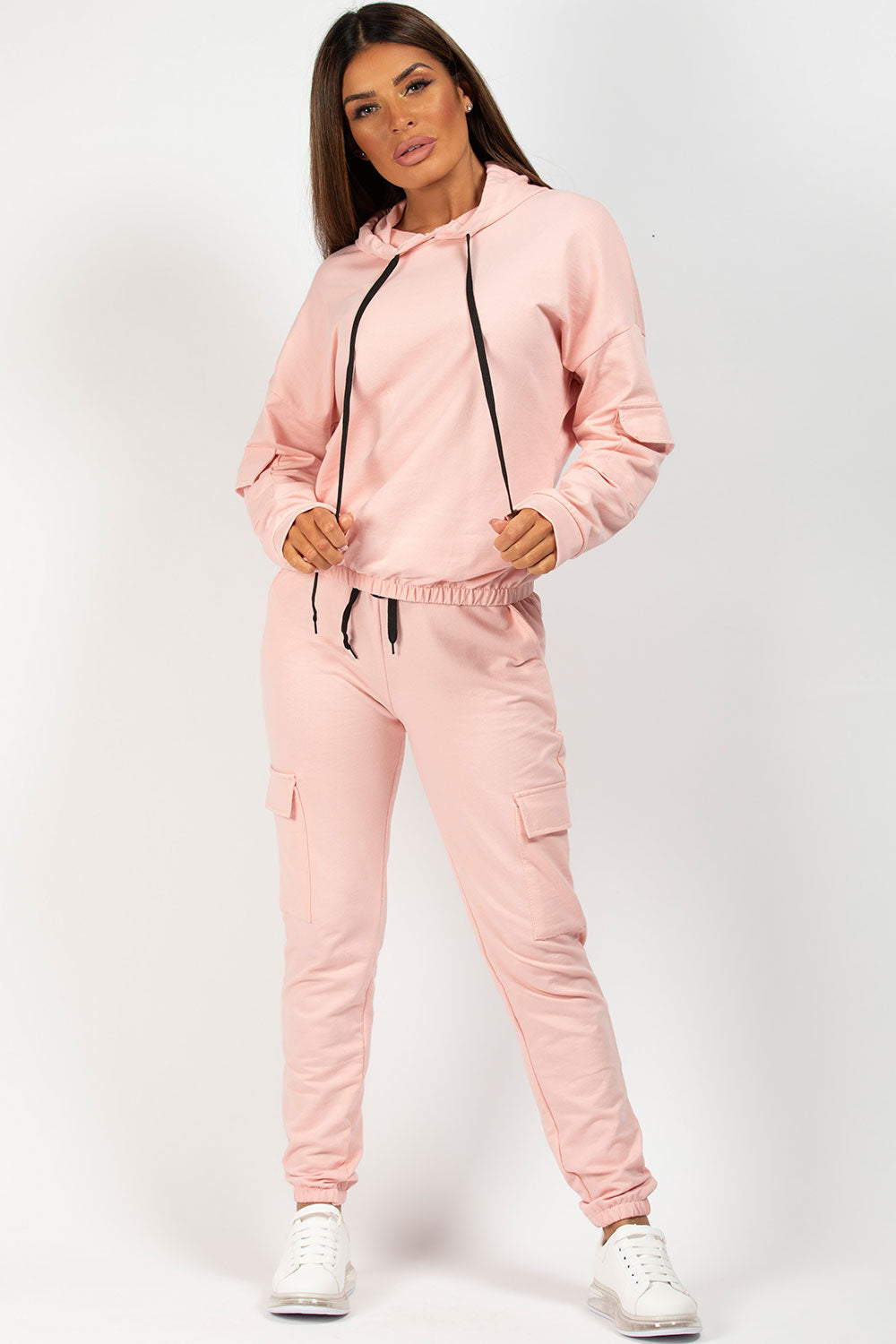 pink hooded tracksuit