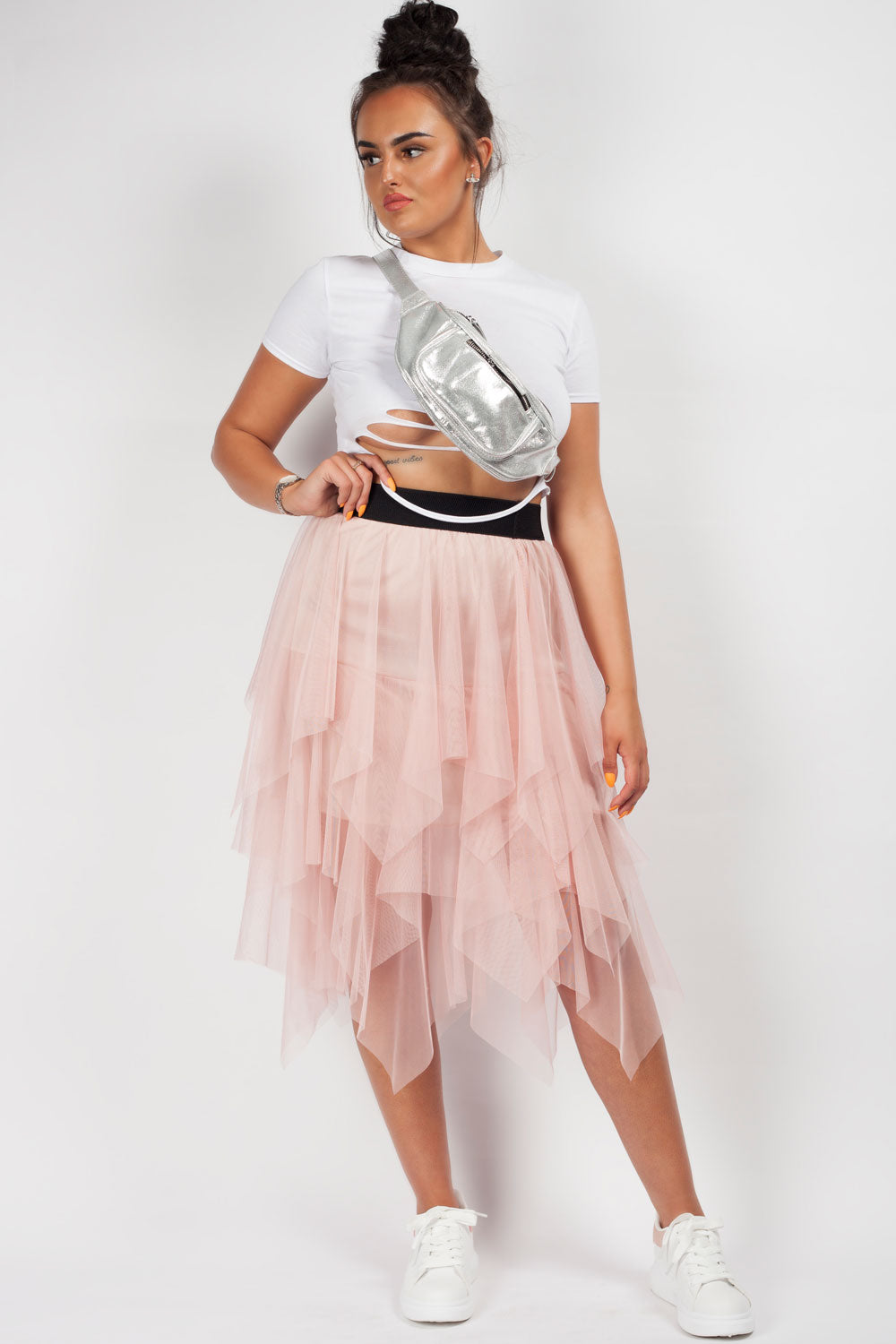 pink mesh layered skirt styledup fashion