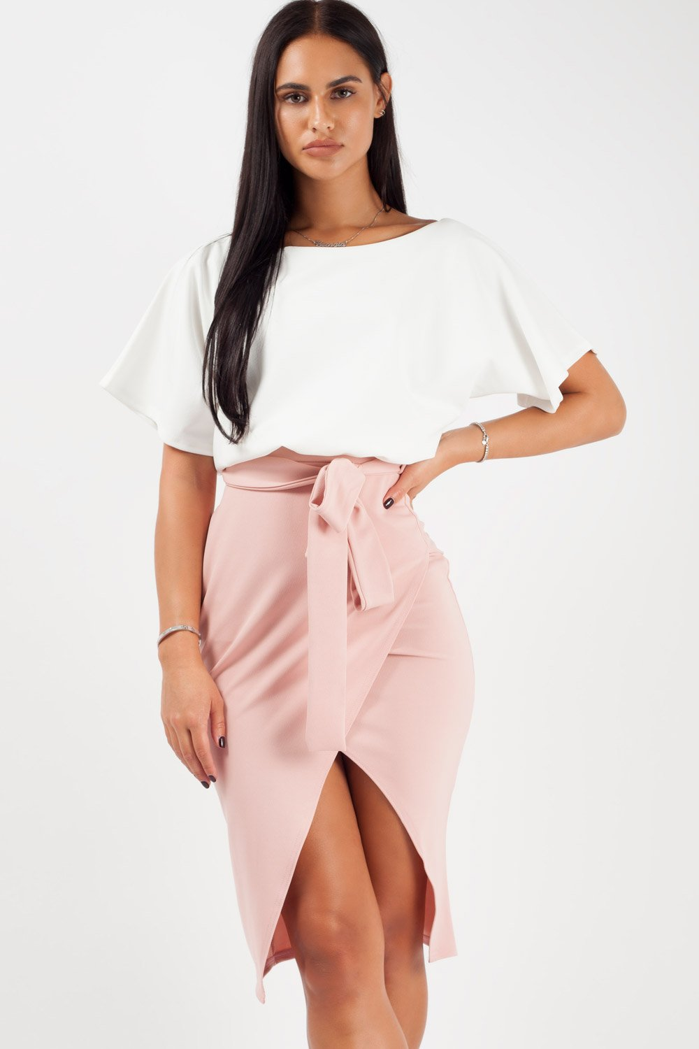 pink contrast wrap front midi dress
