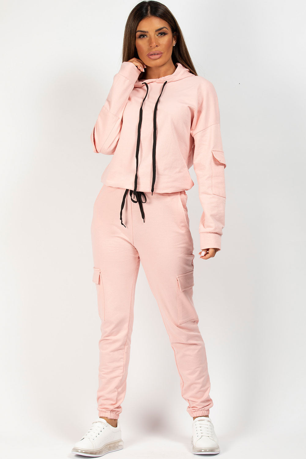 pink oversized hooded loungewear set