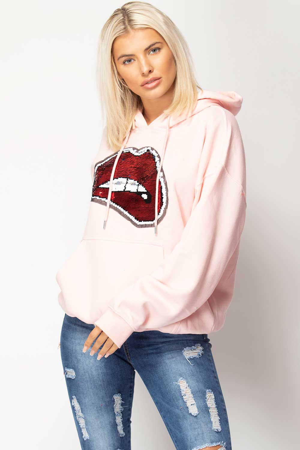 pink oversized hoodie with sequin lips