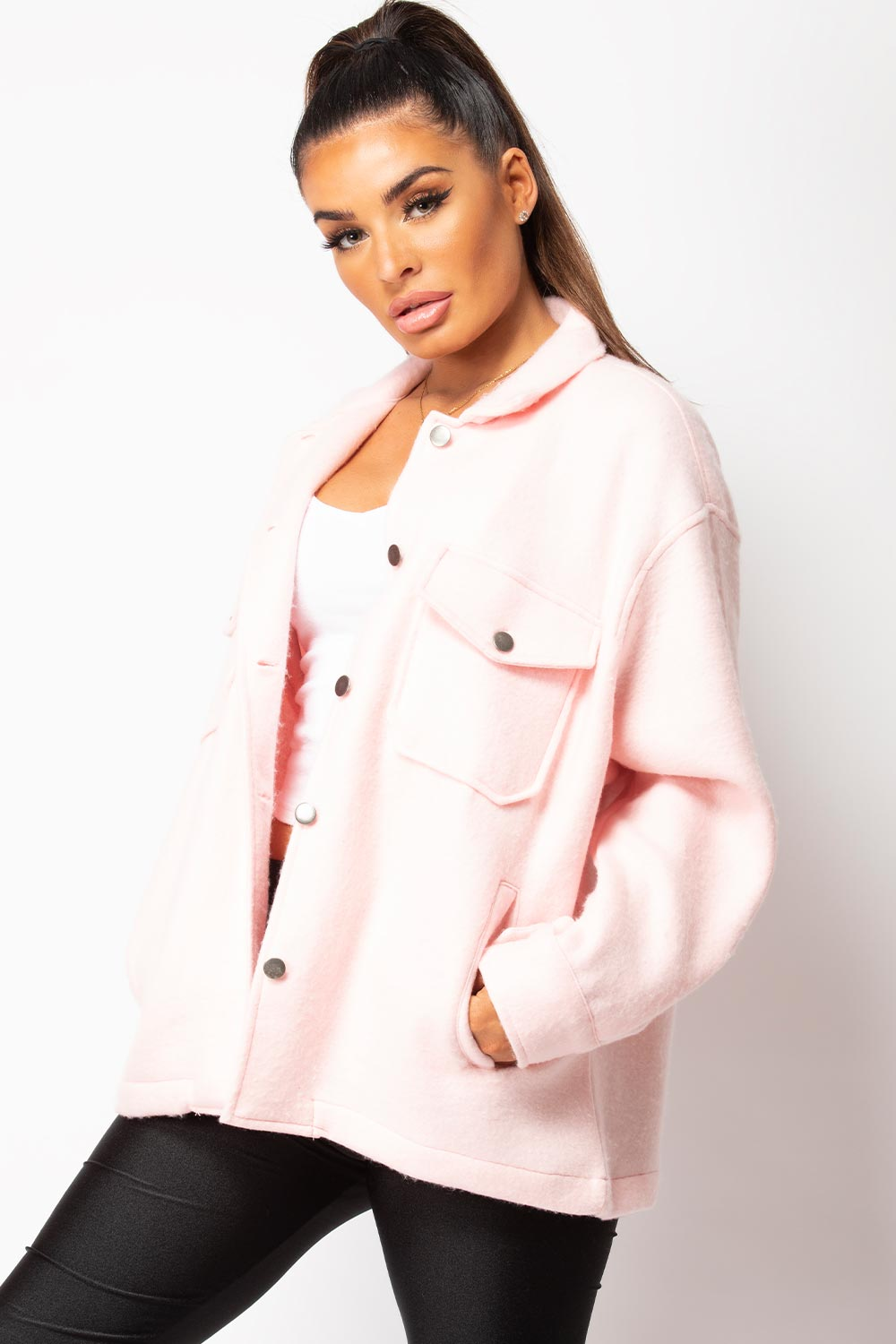 pink shacket trucker jacket