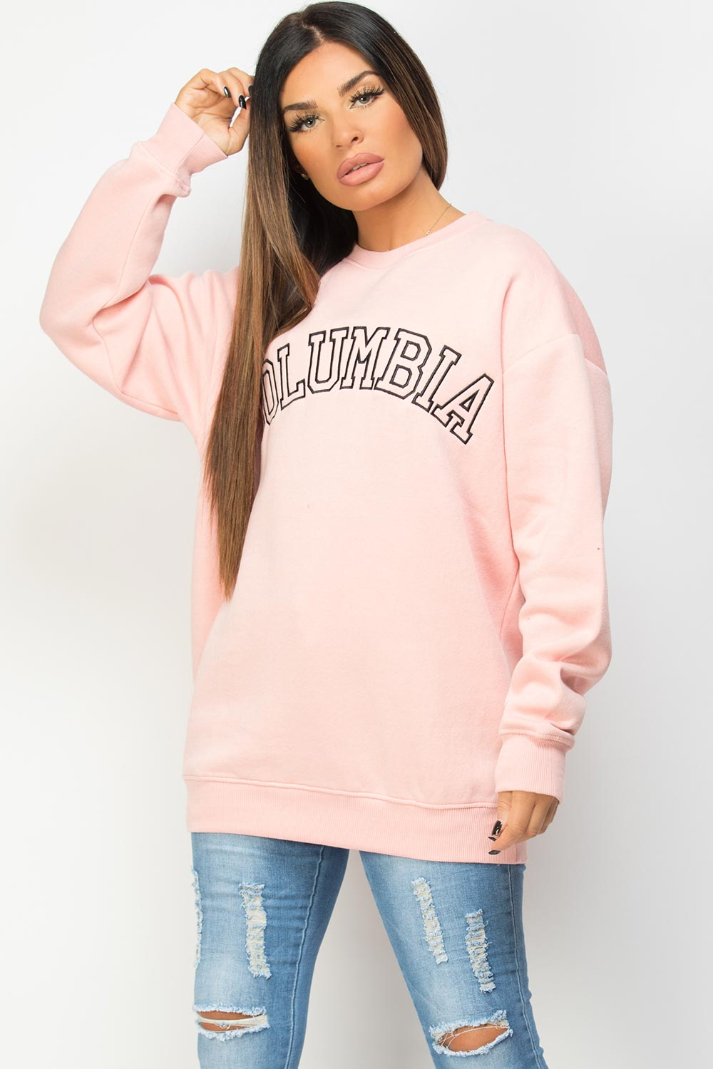 sweatshirt with columbia embroidery