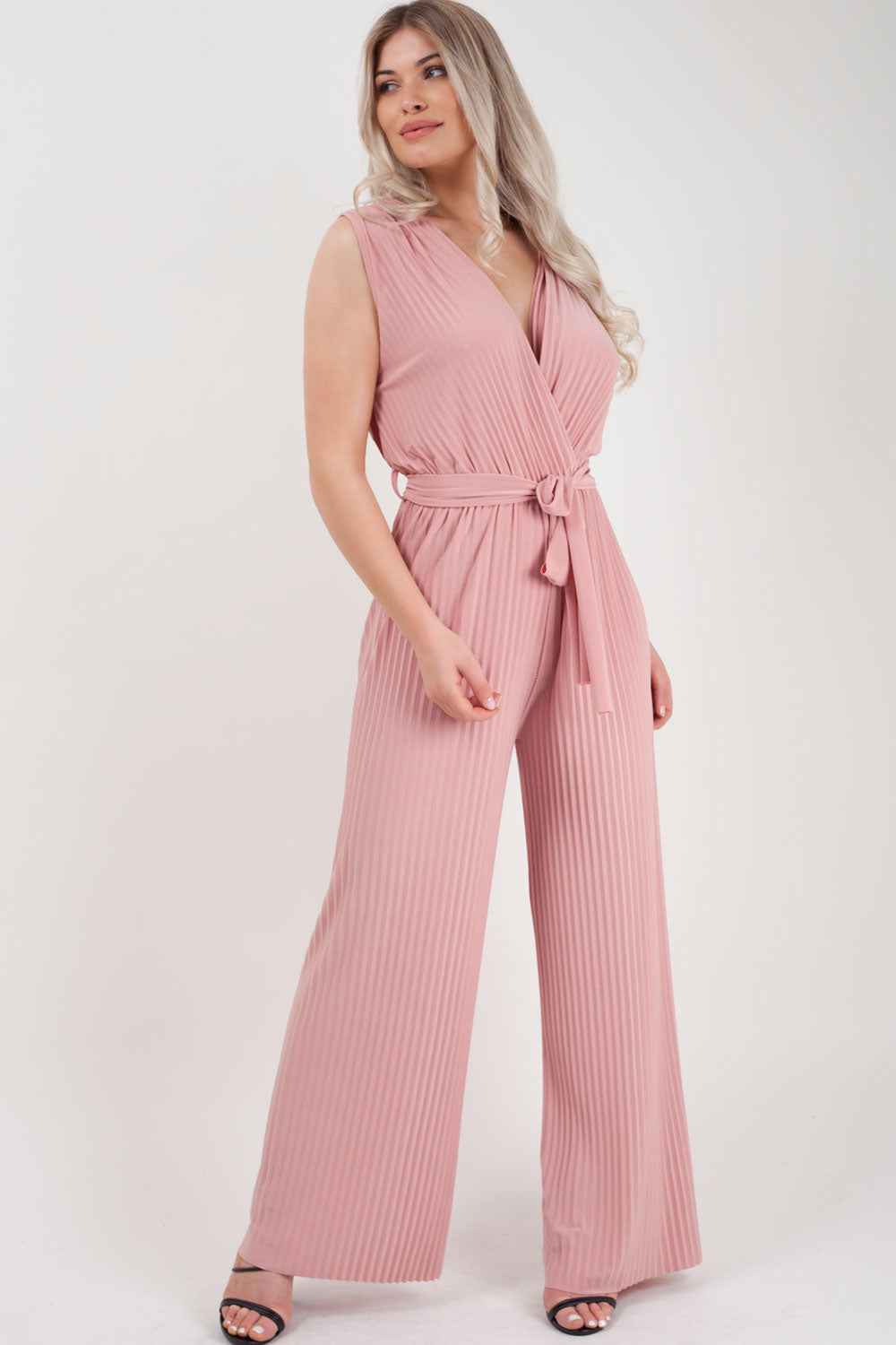 wide leg pleated jumpsuit pink styledup fashion