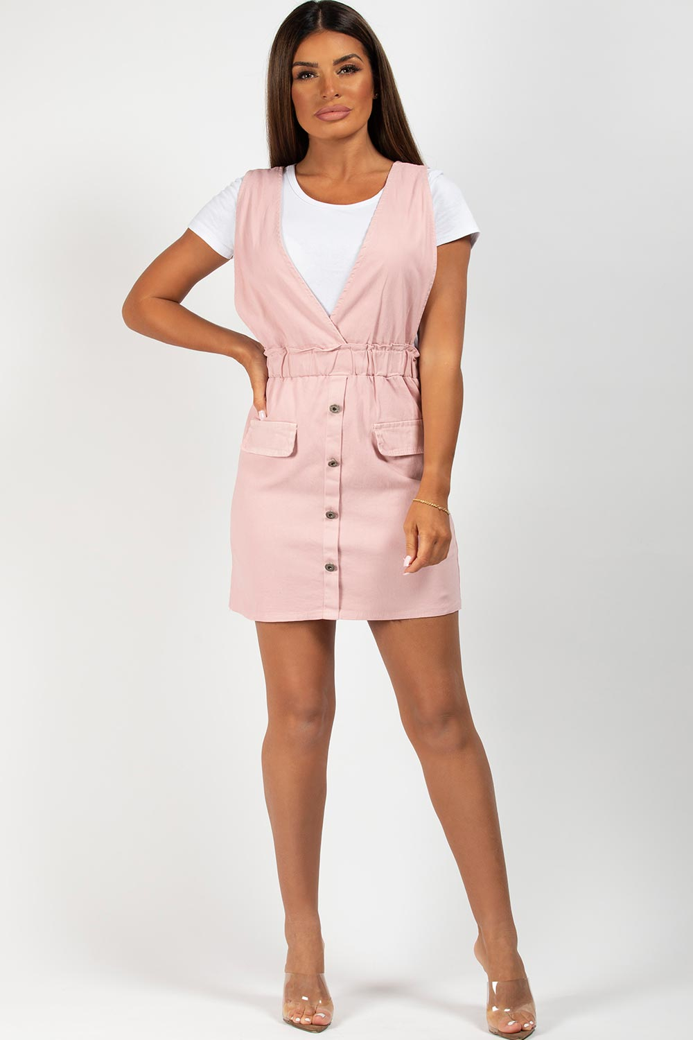 pink button front pinafore dress