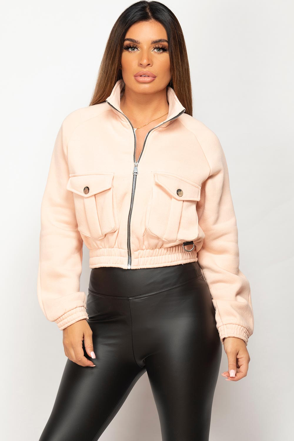 pink pocket front cropped jacket womens