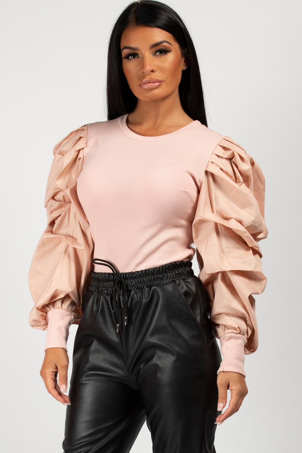 pink ruched puff sleeve top