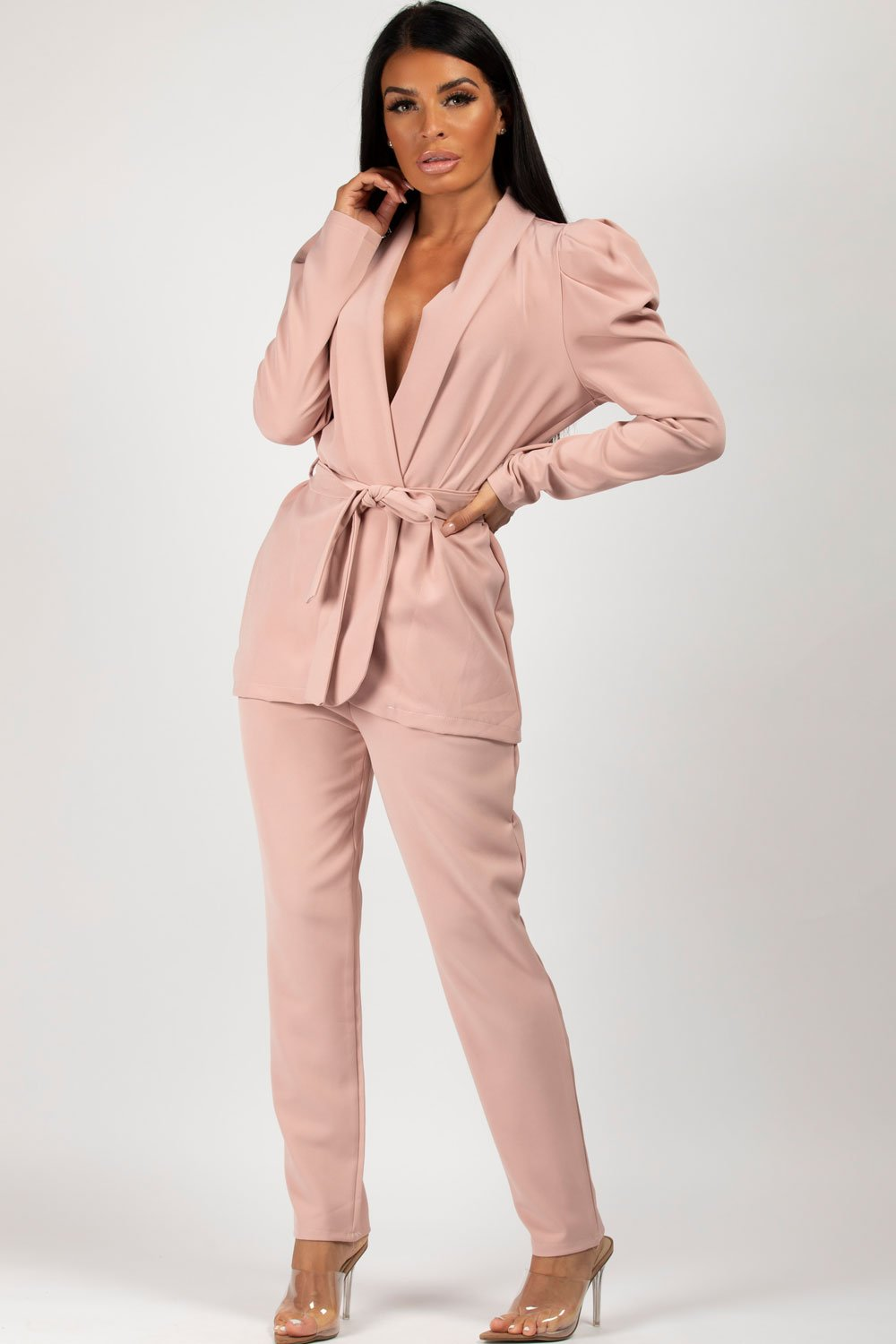 puff sleeve blazer and trousers co ord set pink