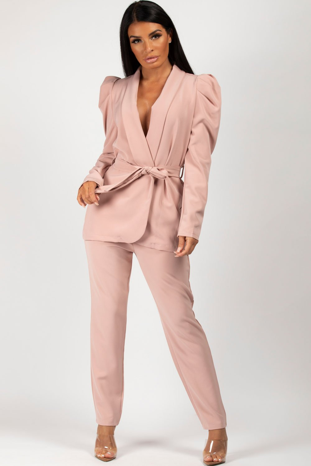 puff sleeve blazer and trouser set