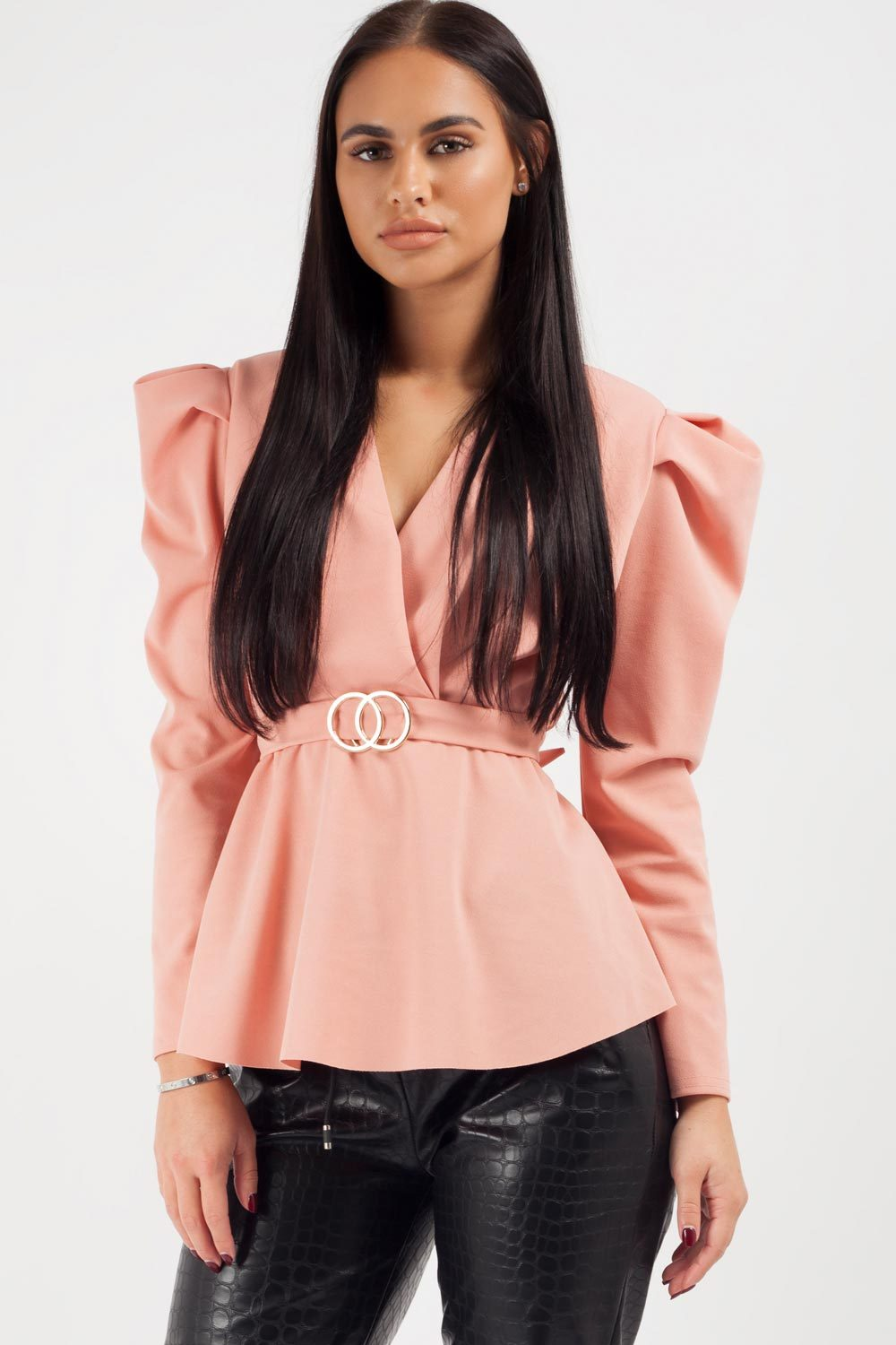 pink puff sleeve top uk