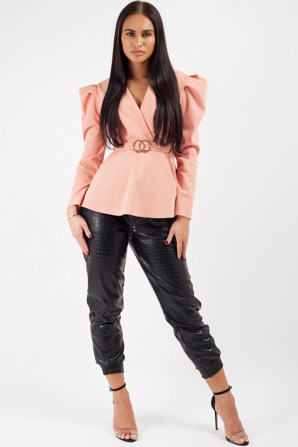 long sleeve wrap top pink
