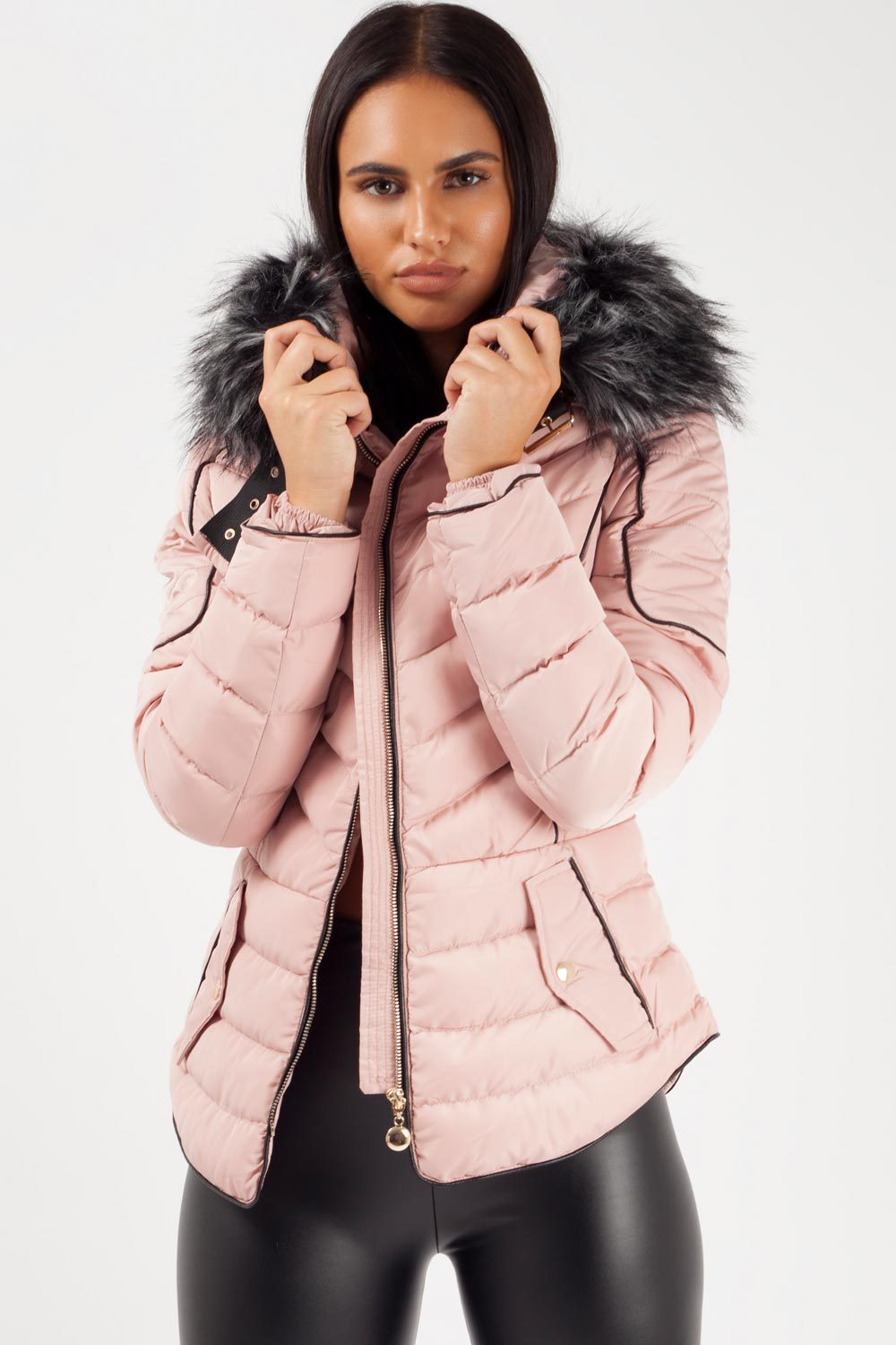 hooded puffer jacket pink