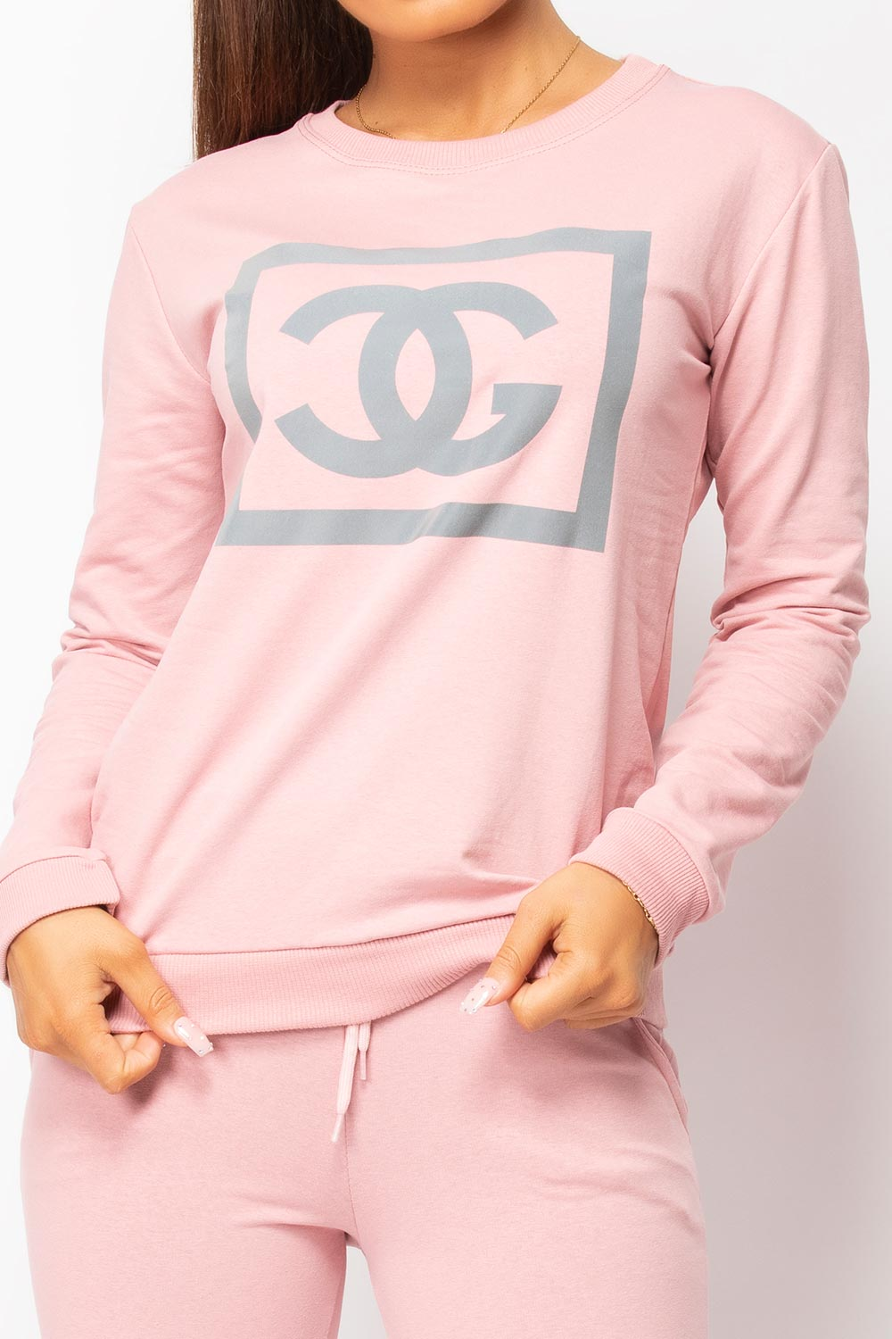pink reflective slogan tracksuit womens
