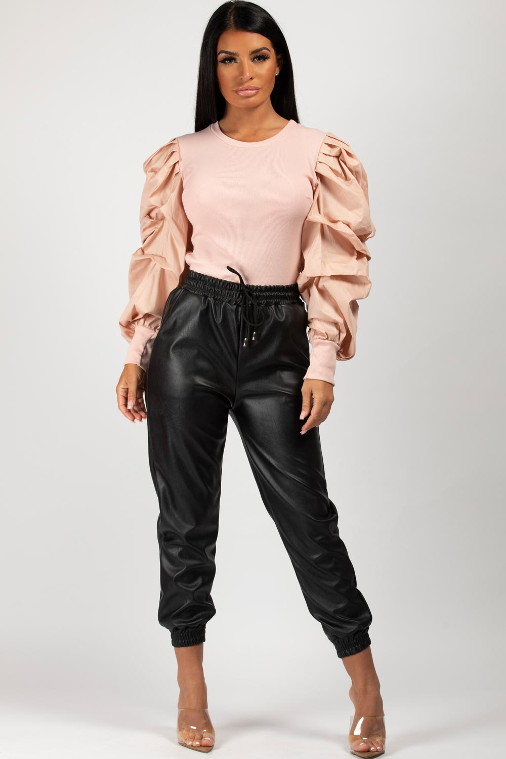 puff sleeve top ribbed