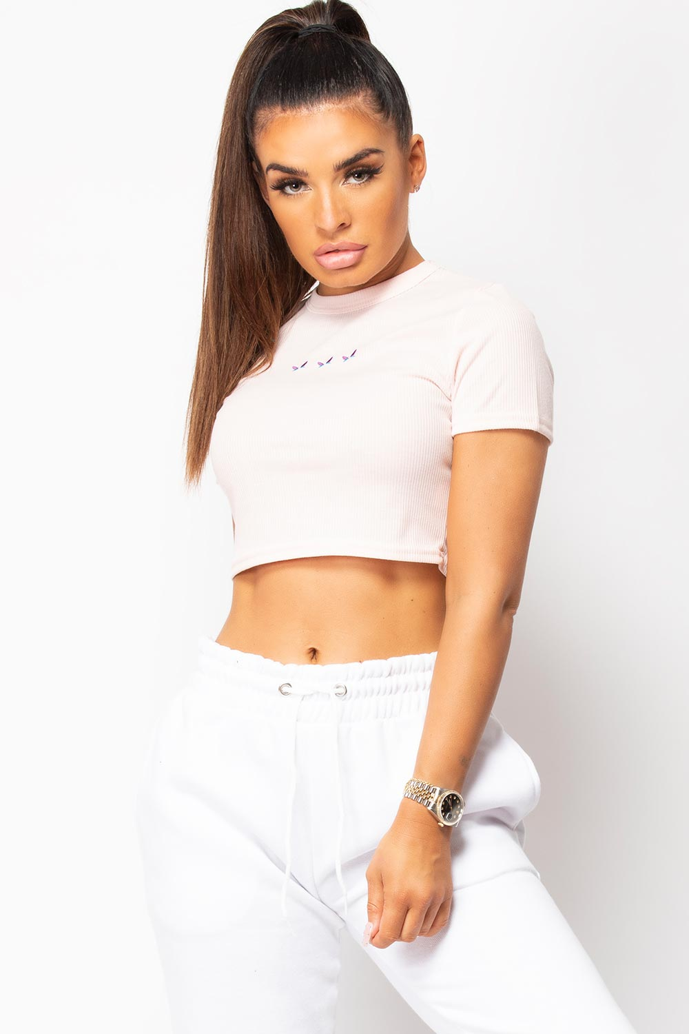 baby pink ribbed crop top